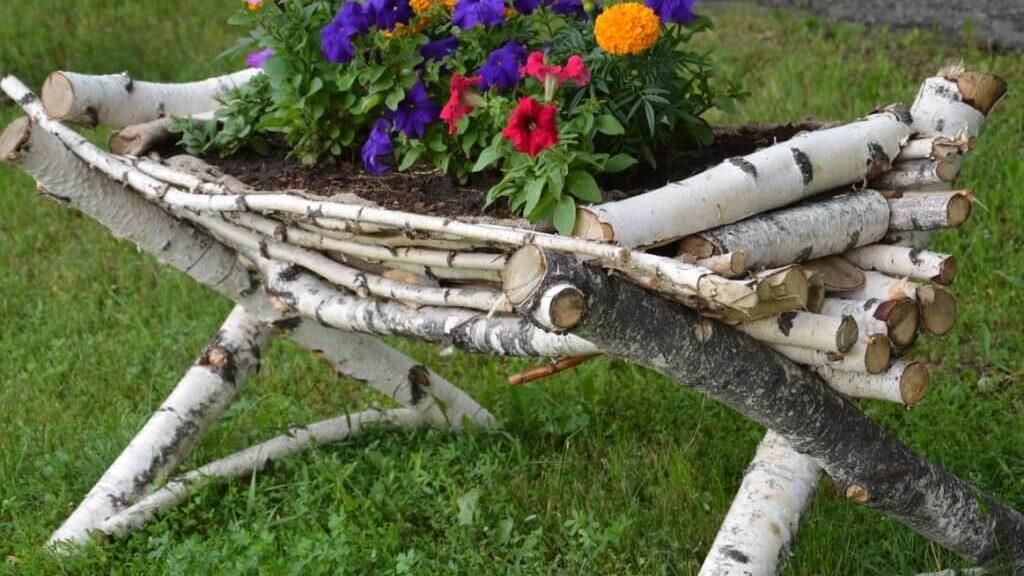 Jardinière faite en branche de bouleau